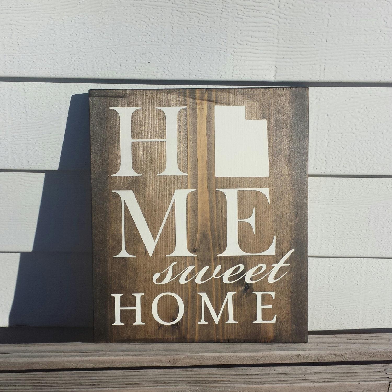 Home Decor Stores Utah: Home Sweet Home Wood Sign Wall Decor Utah Home State Dark