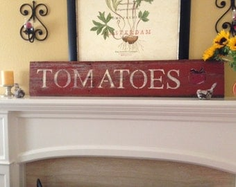 "Red reclaimed barnwood sign ""Tomatoes"""
