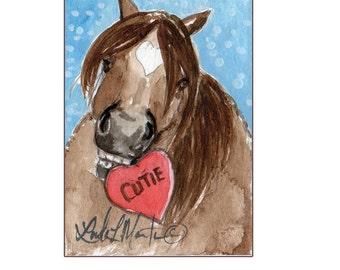 Brown Pony Valentines Day llmartin Original ACEO  Watercolor