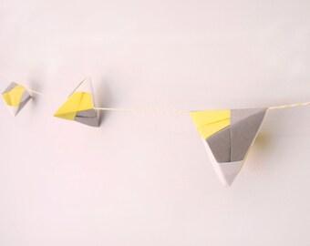 Handmade Origami Tetrahedra Bunting