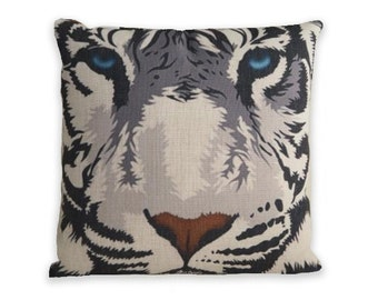Accent Pillow White Tiger Linen Throw Pillow Cover