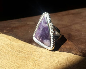 Amethyst, Sterling Silver, Transluscent, Handmade, Ring, Size 8, Statement Ring, Rich Purple White
