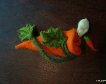 Waldorf Toy OOAK- 4cm Blue Eyed White Rabbit with Tiny Carrot©: Living Within a 12cm Carrot Pouch. Child Friendly Clasp. Ideal for Travel.