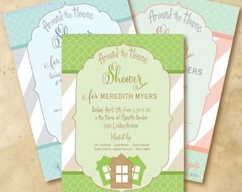 Around the House Shower Invitation printable/Digital File/bridal shower, wedding shower, kitchen shower/wording and colors can be changed