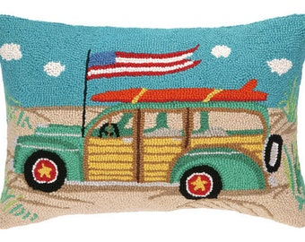 Beach Woodie Hand-Hooked Pillow