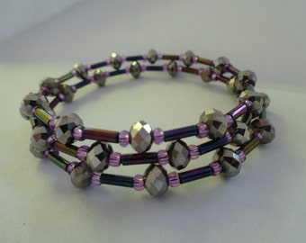 Purple and silver memory wire bracelet