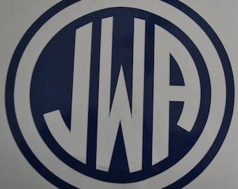 Circle Monogram w circle border Vinyl Monogram Decal, Water Bottle Decal, Laptop Decal, Car Decal: 2-12inches