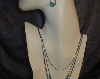 Stunning Four Tier Vintage Necklace & Pierced Earring Set