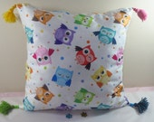 Cute Cartoon OWLS Pillow Cover/Home Decor Colorful Cute Owls Throw Pillow Cover/Desired All Sizes/At least two items %25 Coupon Code UG79UL