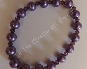 Amethyst Pearl-bracelet with crystals and imitation Pearl