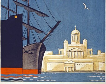 TX21 Vintage 1930 Helsinki Finland Finnish Travel Tourism Poster Re-Print Wall Decor A1/A2/A3/A4