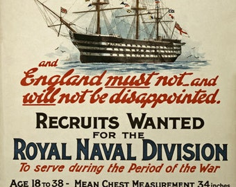 W99 Vintage WWI British Royal Navy War Recruitment Poster Re-Print Wall Decor A1/A2/A3/A4