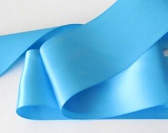 Island Blue Double Face Satin Ribbon / Island  Blue Ribbon / Ribbon by the yard / Island Blue