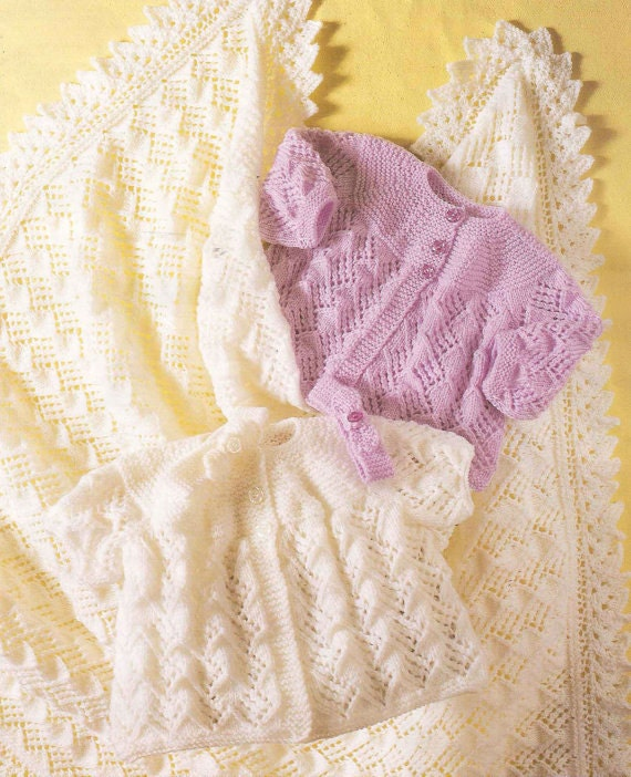 Knit Baby Matinee Coat Shawl Headband Vintage Knitting Pattern