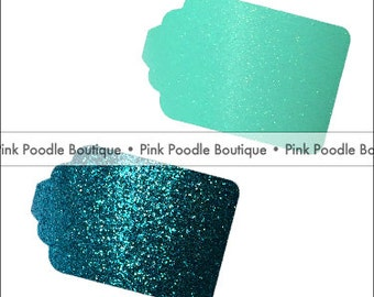 Glitter Sparkle GIFT TAGS (6 pc, 12 pc, 24 pc) -- choose from Teal, Turquoise, Aqua, Robin's Egg Blue