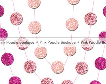 GLITTER Sparkle Circle CONFETTI GARLAND -- choose the length & color from Fuchsia, Hot, Bubblegum, Pink, Pastel/Pale/Baby