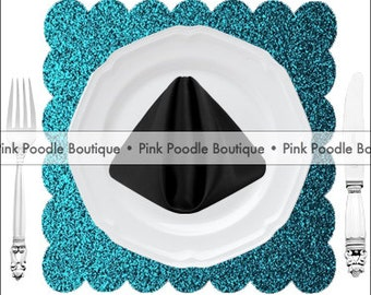 Scalloped Square GLITTER Sparkle PLACEMATS (10 pc)  -- choose from Teal, Turquoise, Aqua, Robin's Egg Blue
