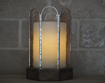 """Chandelier in wood and stained glass with wax candle without flame 3 """"x 4""""."""