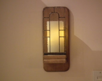 Wall chandelier in wood and stained glass with candle wax flameless timer