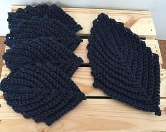 Handmade Crochet Coaster - Set of 5 - Leaf -Navy Blue