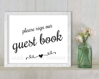 Please Sign Our Guest Book // Wedding Sign DIY // Elegant Calligraphy Printable Poster PDF // Classic Elegance ▷ Instant Download