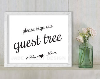 Please Sign Our Guest Tree // Wedding Sign DIY // Elegant Calligraphy Printable Poster PDF // Classic Elegance ▷ Instant Download