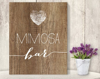 Mimosa Bar Sign // Rustic Wedding Alcohol Sign DIY // Rustic Wood Sign, White Calligraphy Printable PDF, Rustic Poster ▷ Instant Download