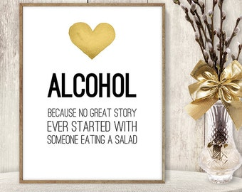 Alcohol Not Salad Sign / Watercolor Funny Wedding Bar Sign DIY // Gold Heart, Watercolor Heart Sign, Printable PDF Poster ▷ Instant Download