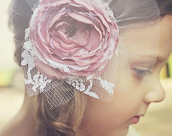 Flower Girl Headband.  Flower Headpiece. Baby Girl Pink Flower Headband. Pink Flower Headband. Newborn Pink Flower Headband.