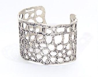 Silver Plated Molten Lava Cuff