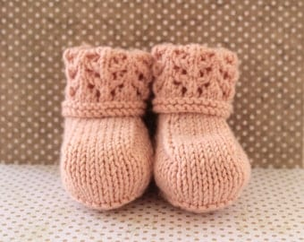Peach Baby Booties,Luxury Baby Booties,Girls Crib Shoes,Baby Girl Booties, Woollen Booties, New Baby Booties, Cashmere Booties, Lacy Booties
