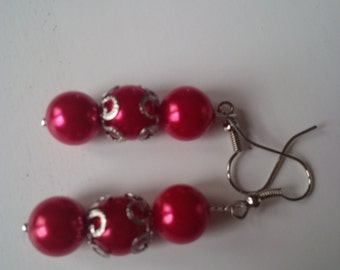 Red Beaded Earrings  (#84)