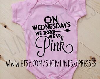 On Wednesdays We Wear Pink Onesie; Mean Girls; Baby Shower Gift; Baby Gift; Newborn; Regina George; Mean Girls Movie; Mean Girls Onesie