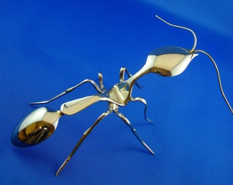 Ant sculpture, individually handcrafted from old spoons and forks