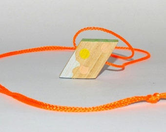 Necklace With Hand Painted Pendant on Neon Cord