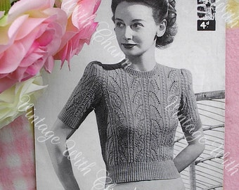 """Vintage 1940s Knitting Pattern Lady's """"Zena"""" Lace-look Jumper  Simply Stunning 34-36 Bust"""