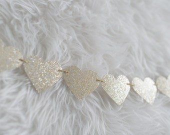 Champagne Glitter Heart Garland - Bridal Shower Decor - Baby Shower Decor - Wedding Decor
