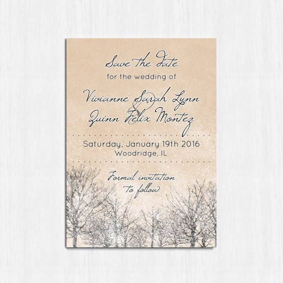 Winter Save The Date Printable Wedding Invitation