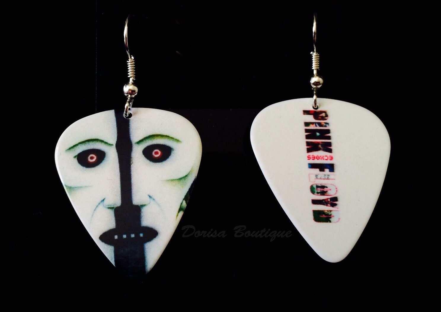 guitar pick earrings pink floyd collectible by dorisaboutique. Black Bedroom Furniture Sets. Home Design Ideas