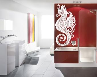 Wall Vinyl Sticker Decals Mural Room Design Pattern Seahorse Cartoon Bathroom bo1576