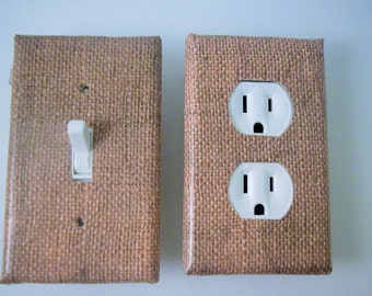 natural burlap switchplate cover, outlet cover kitchen decor