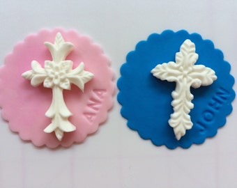 "Baptism cupcake toppers 12pcs 2.5""  edible fondant cross cupcake toppers with name imprint christening First Communion Easter Orthodox"