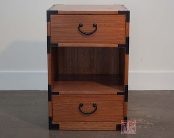 Japanese style night stand, hand made with solid kiri wood. (KB30)