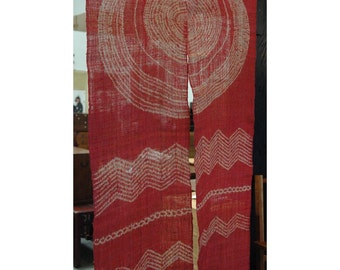 """traditional linen noren, door way curtain. geometrical sun and wave on red (AA34) 35""""W x 59""""L"""
