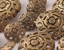 button vintage gold metal