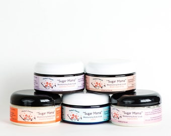 Sugar Mama Moisturizing Body Scrub Natural Skin Care Bath Beauty Products Mint Grapefruit Bergamot Lavender Chamomile Island Brown Sugar Fig