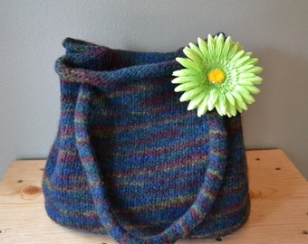 Hand knit and felted bag tote purse