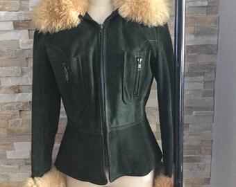 1970's hunter green suede coat