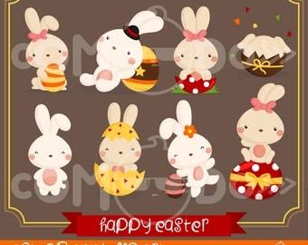 50%OFF!! Easter Bunny Clipart - Cute Clipart, Easter Clipart, Fun Clipart, Clipart Set, Adorable Digital Clip Art