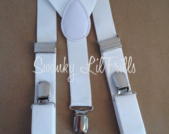White Girls Suspenders, White Wedding, Flower Girl, Suspenders, Toddler Suspenders, Braces, Adjustable Suspenders, Girl Suspenders